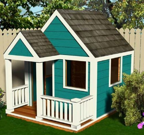 Simple wooden playhouse plans 6 39 x 8 39 diy pdf for Outdoor playhouse designs