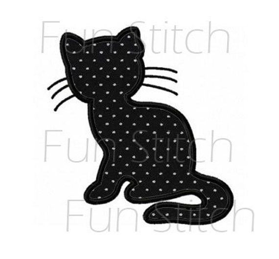 Cat Outline Applique Machine Embroidery Design Pattern Products