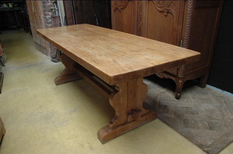 A Handsome 19th Century Solid Oak French Baer Trestle Table Or Farm Monastery From Normandy Having Thick Rectangular