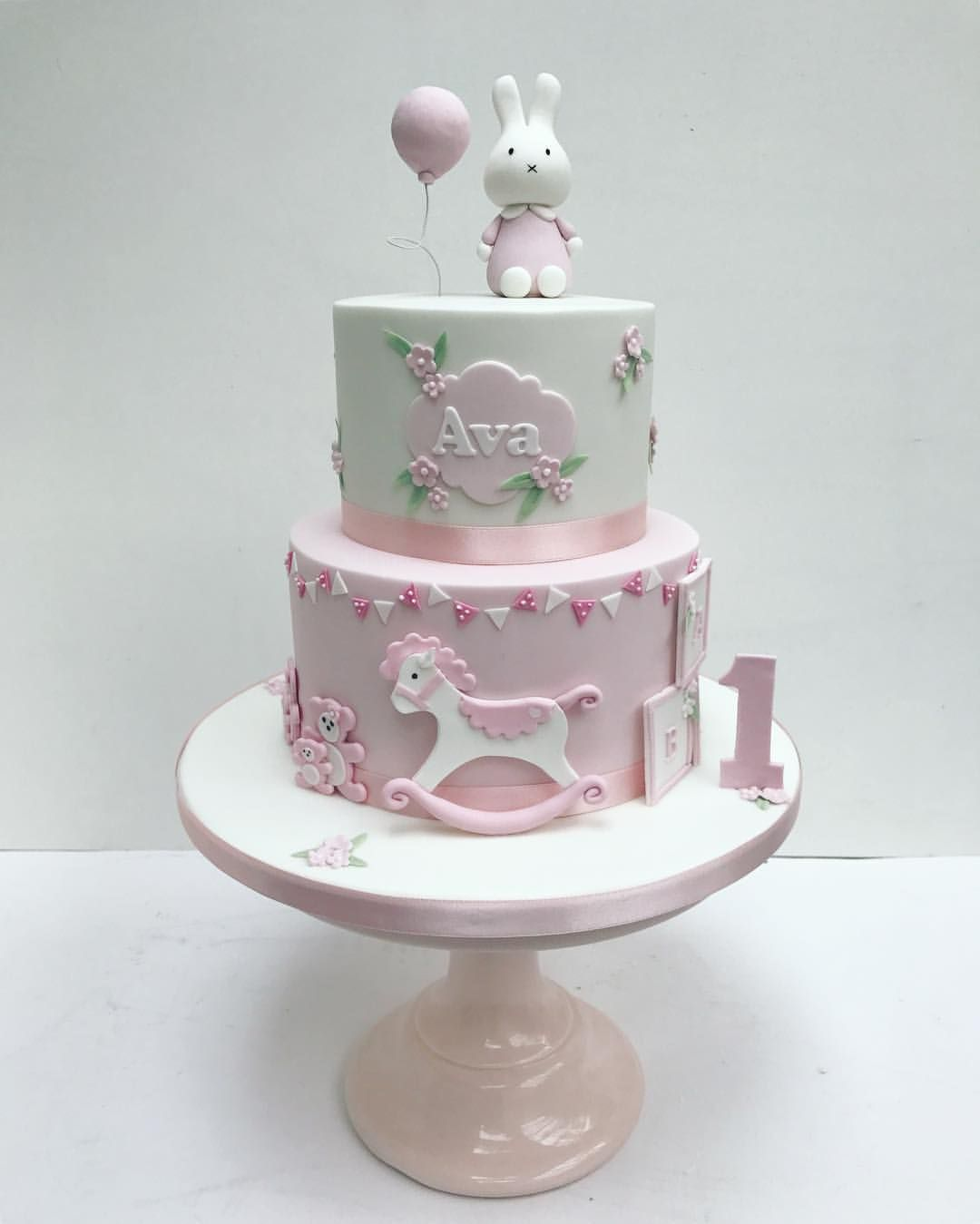 Brilliant Miffy Pink Bunny Cake For Little Girls First Birthday By Sweet Personalised Birthday Cards Veneteletsinfo