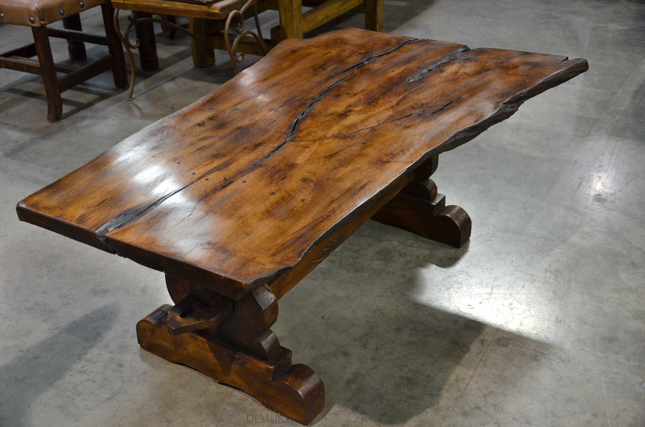 Tables rustic solid wood trestle pedestal base harvest dining table - The Planka Coffee Table Features A Naturally Shaped Solid Mesquite Wood Top Accented By A Custom Furniturefuture Housecoffee Tablesdining Room
