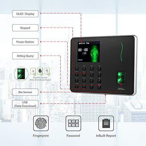 ZKTeco Fingerprint Attendance Machine Biometric Time Clock Employee
