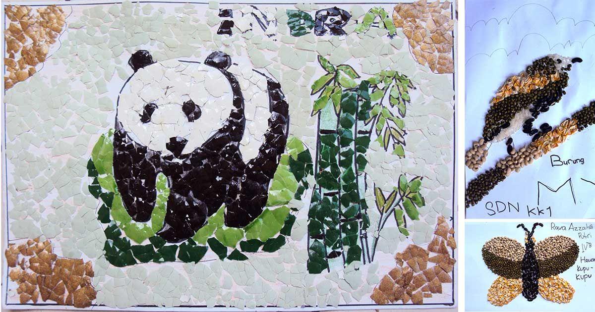Perbedaan Seni Tempel Kolase Montase Dan Mozaik Kolase Gambar Bunga Pelajaran Seni