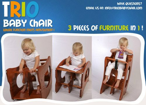 New 3 In 1 Trio Chair High Rocking Horse Child Desk Combo Wood Wooden
