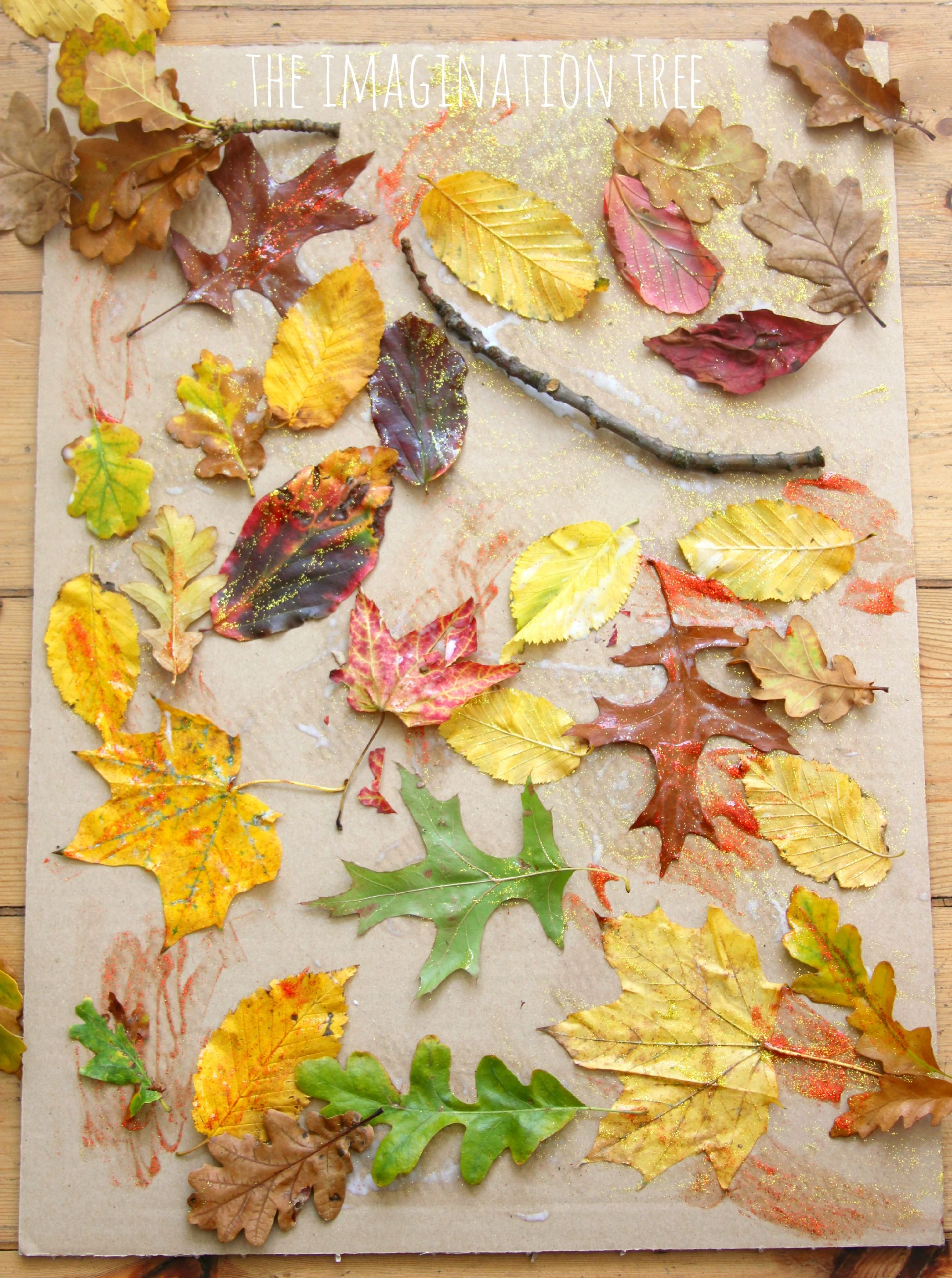 Autumn leaf and glue collage nature art activity for kids