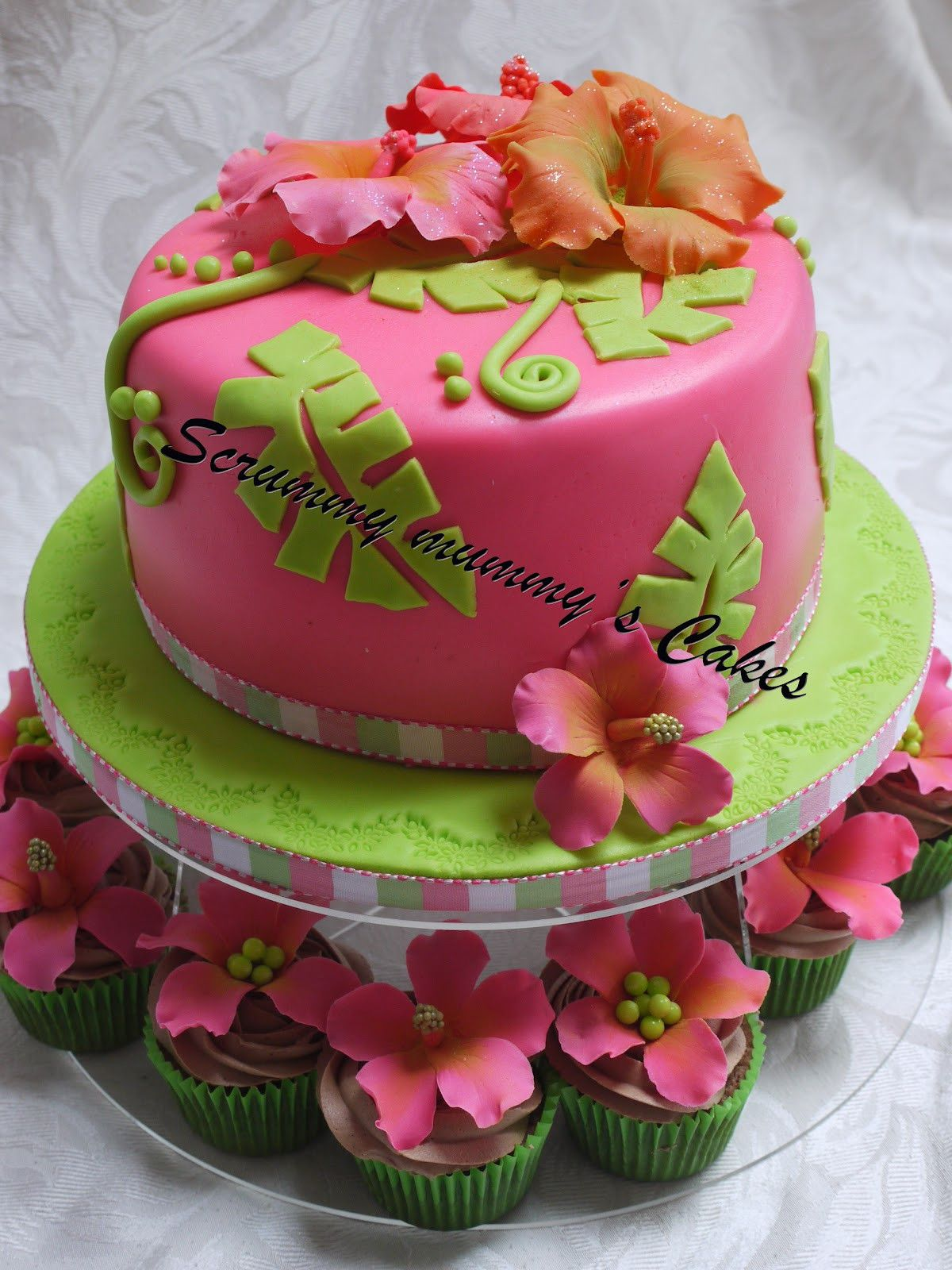 hibiscus birthday cake and cupcakes.20 Of the Best Ideas