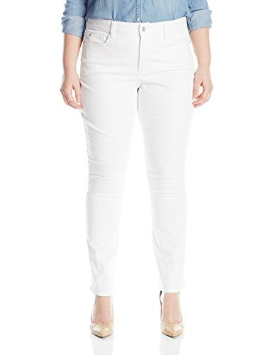821a886a3ca NYDJ Womens PlusSize Marilyn Straight Jeans In Colored Bull Denim Optic  White 20W