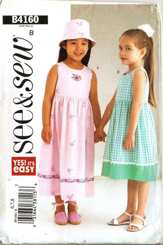 Butterick See & Sew B4160 Girl\'s Easy Spring or Summer Dress and Hat ...