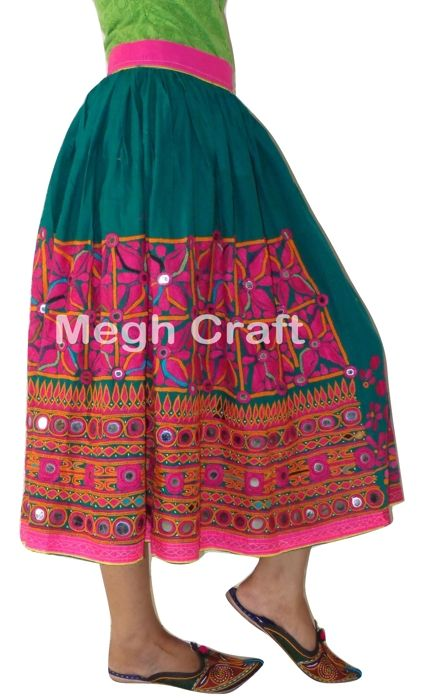 13c08b718f24 TRIBAL EMBROIDERED GUJRATI RAJASTHAN MIRROR WORK SKIRT , VINTAGE ...