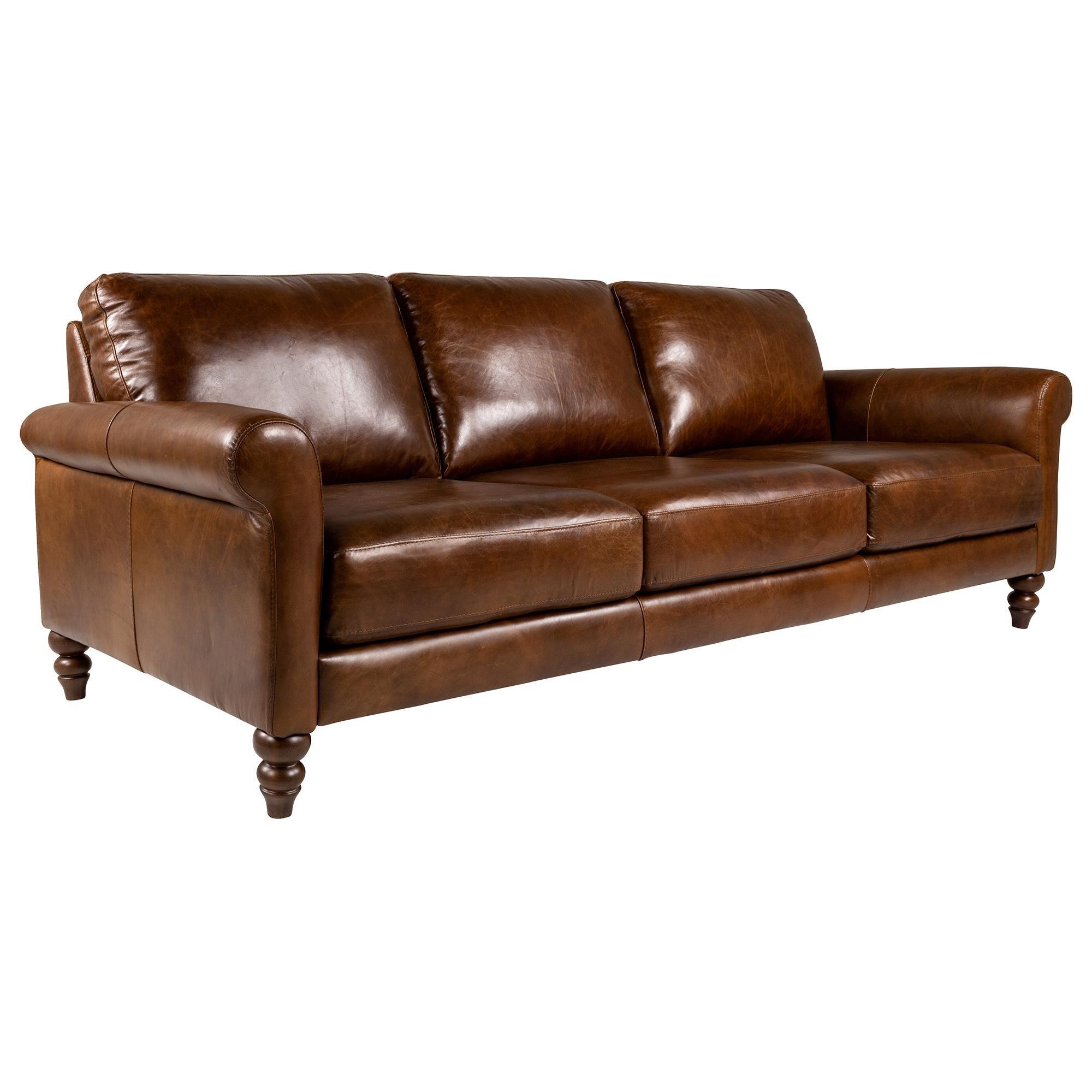Softline Leather Sofa In Dallas Chestnut Natural Marked Top Grain Leather Nebraska Furniture Mart Nebraska Furniture Mart Leather Sofa Top Grain Leather