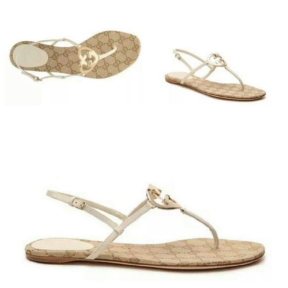 745533127 NIB Gucci Leather Interlocking GG Flat Sandal GUCCI New in Box women's size  9.5 US 39.5 Euro footbed length 10.25