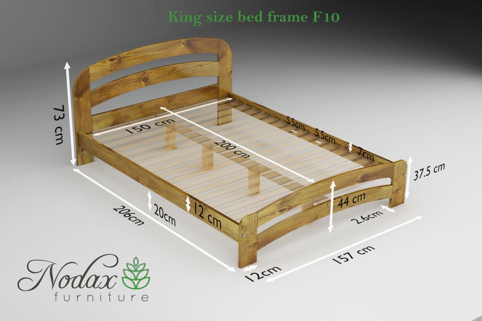 Nodax New Solid Wooden King Size Bedframe F10 Pine Walnut Oak
