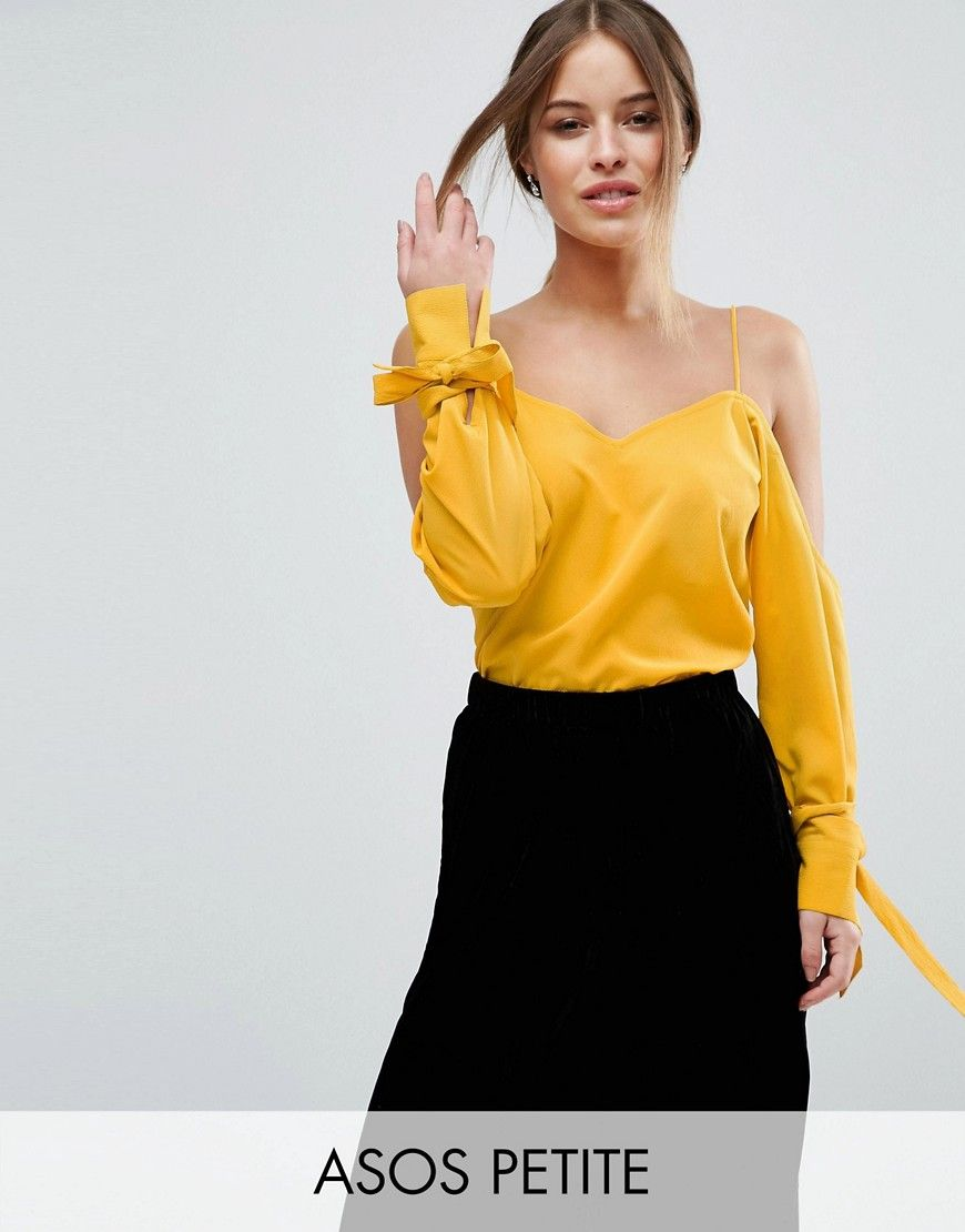 ecedf4217046c5 ASOS PETITE Cold Shoulder Top With Cuff and Tie - Yellow. Petite top by  ASOS PETITE