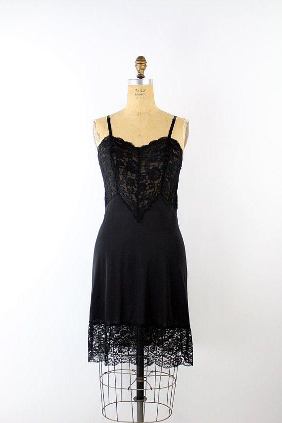 826cb1d70f613 50s Black Lace Nightgown Slip Dress / 50s Mini Slip / Wedding Slip/ Lace  lingerie/ Pin up Slip / Bri