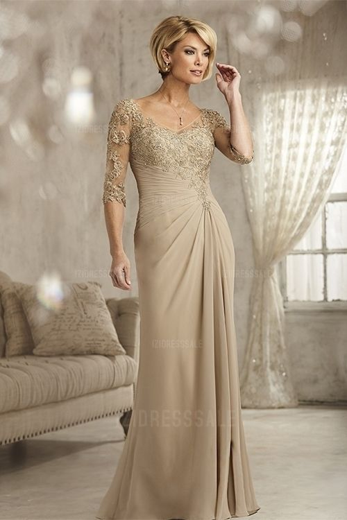 Sheath/Column V-neck Floor-length Chiffon Mother of the Bride Dress ...