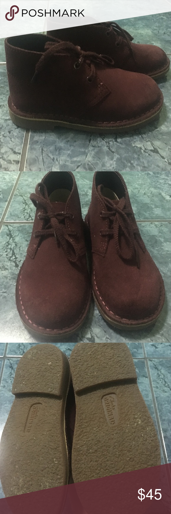 39c3b69fe3047 Clarks toddler classic desert boot Clarks classic desert boot, toddler size  8W, worn a couple times, deep burgundy color Clarks Shoes Boots