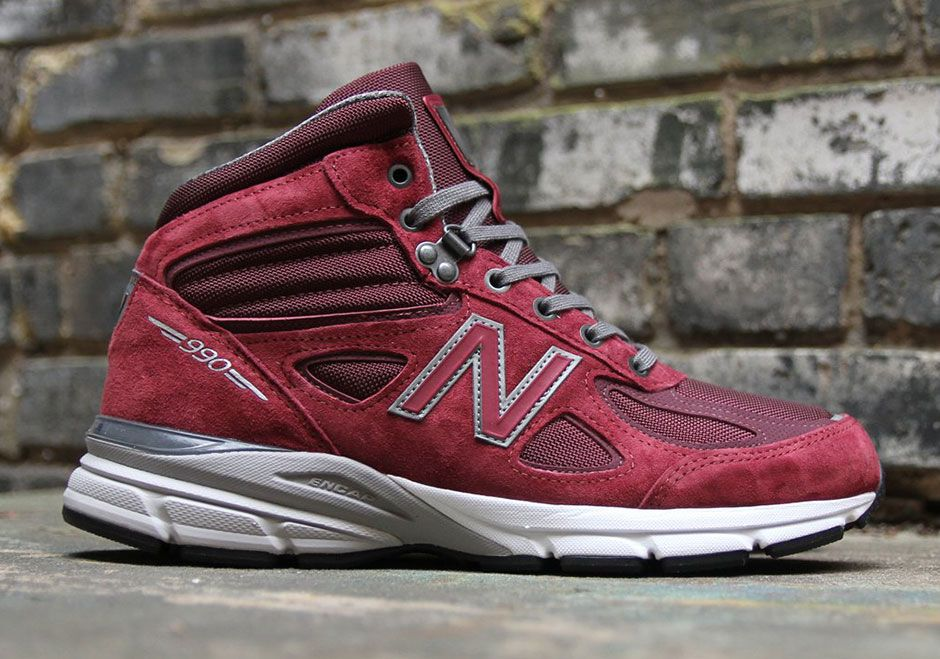 #sneakers #news New Balance 990v4 Mid Releases In Burgundy Pigskin