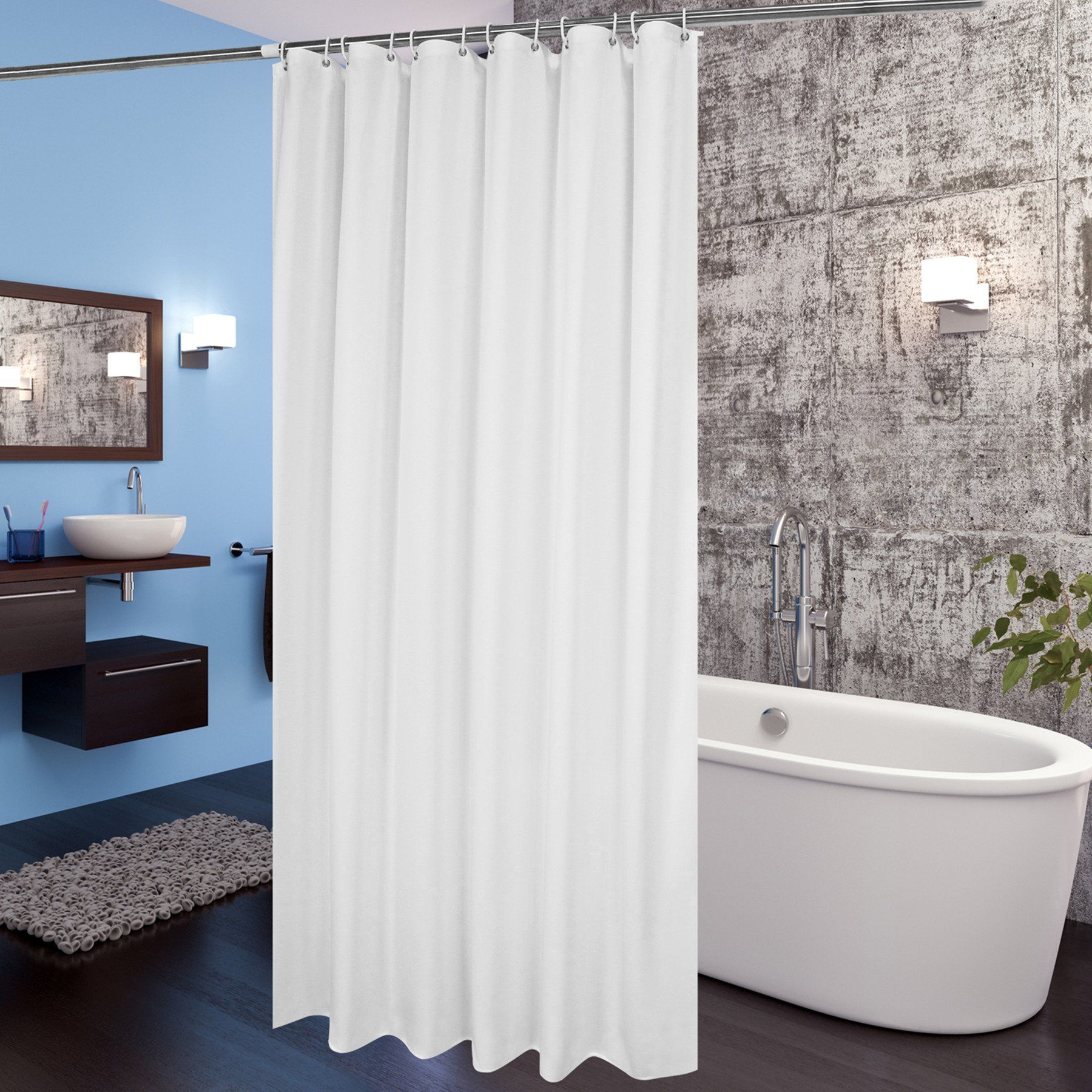 Hotel Shower Curtain Liner Aoohome Mildew Resistant Fabric With Weighted Hem Waterproof 72 X Inch White