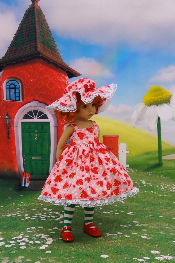 Little Miss Strawberry sundress & hat for Dianna by darlinglilbee