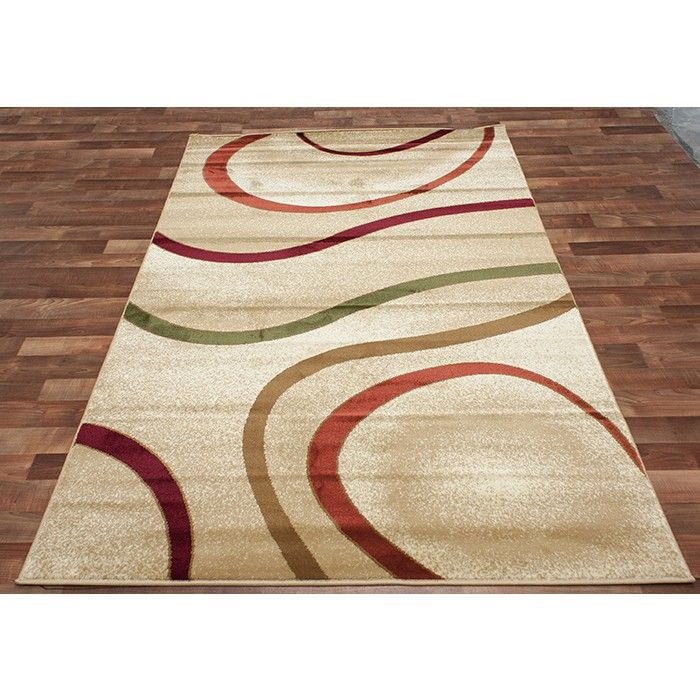 Chandra Stella Patterned Contemporary Wool Beige Aqua Area: Orange And Green Area Rug