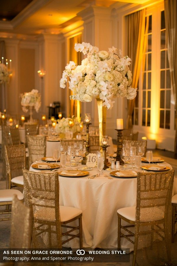 white and gold wedding details | Gold wedding decorations ...