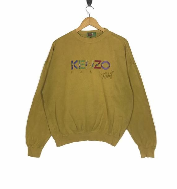 3ed6d4ea7 Kenzo Paris Golf Sweatshirt Big Logo Spell Out Gold Colour Large Size  Jumper Pullover Sweater Crewne