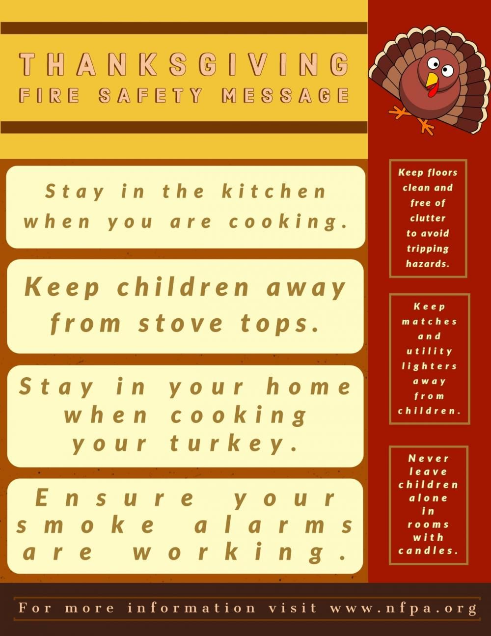 Thanksgiving fire safety message Safety message, Fire