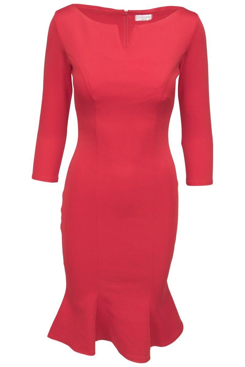 febb2076de3b Goddess rød midikjole med 3 4 ærme