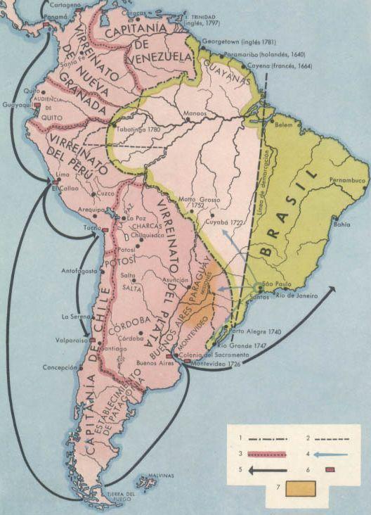 America del Sur en el siglo XVIII | Royal Map & Chart Co ...