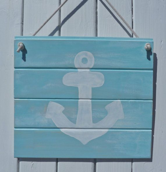 nautical anchor decor - recycled timber wall decor - rustic shabby ...