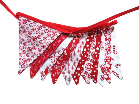 Christmas Red / White Flag Bunting  Xmas by MerryGoRoundHANDMADE, $29.95