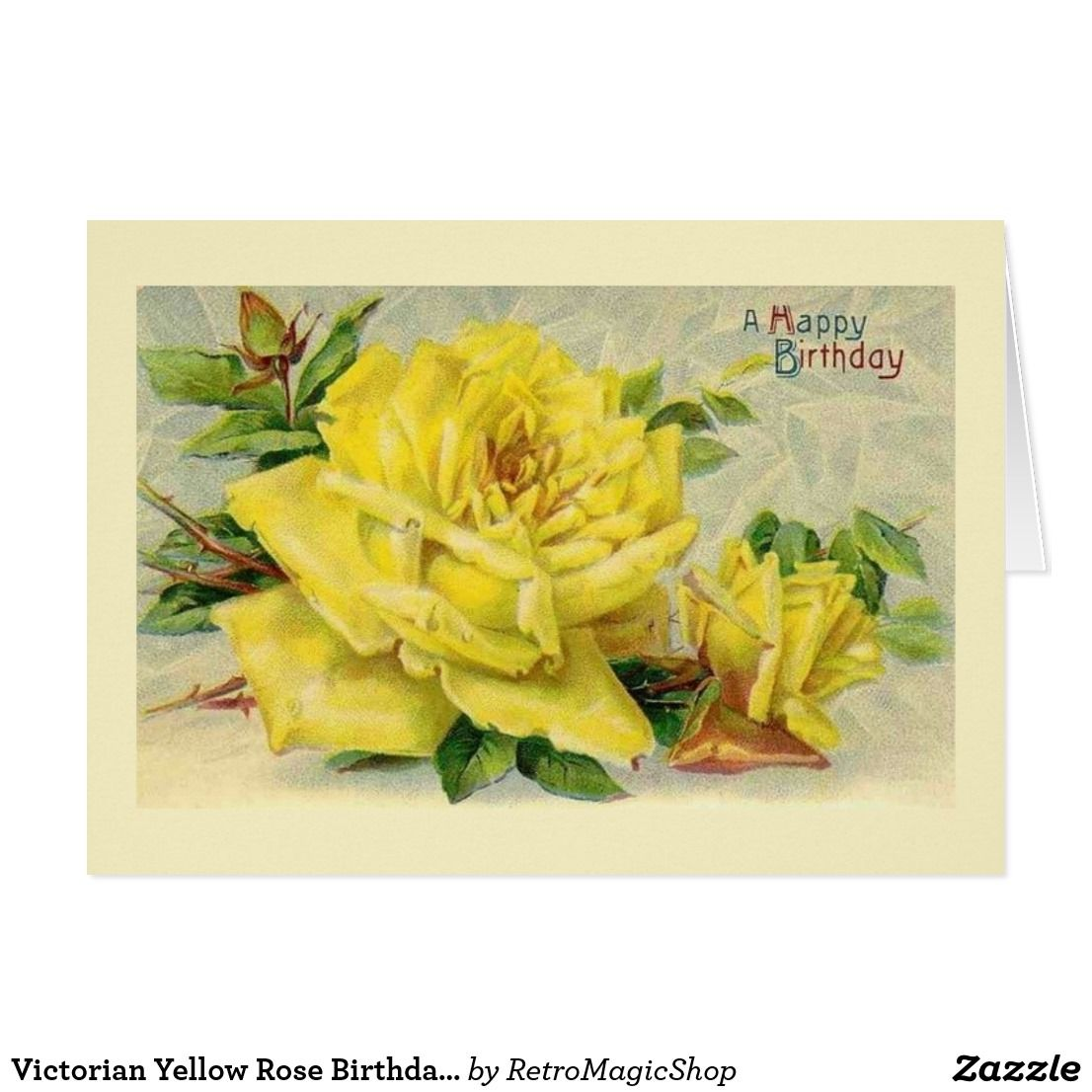 Victorian Yellow Rose Birthday Card Vintage Birthday Cards