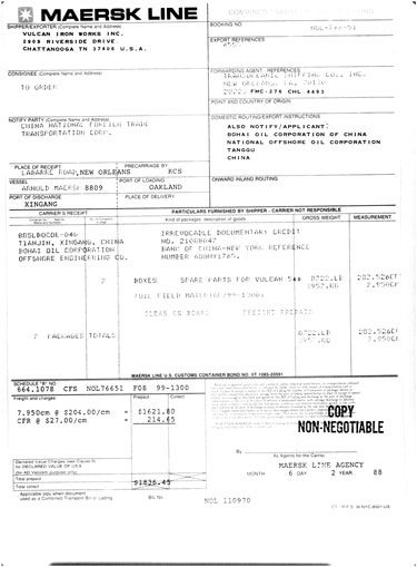 maersk line bill of lading sample filled out - Google Search - letter of credit