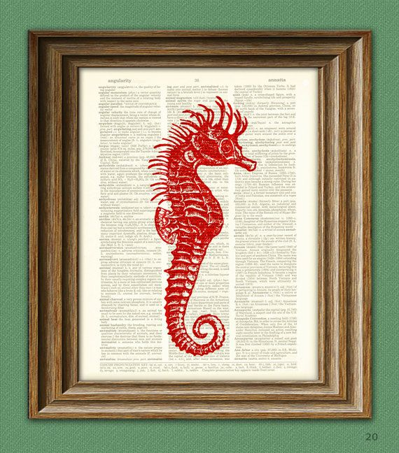 Old Antique Book page Art Print Vintage Pink Seahorses Dictionary Page Print