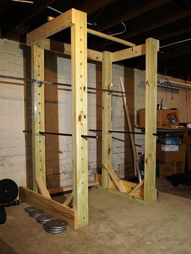 9 Diy Squat Rack Ideas For Your Home Gym Diy Projects Diy Gym Equipment Diy Gym Home Made Gym