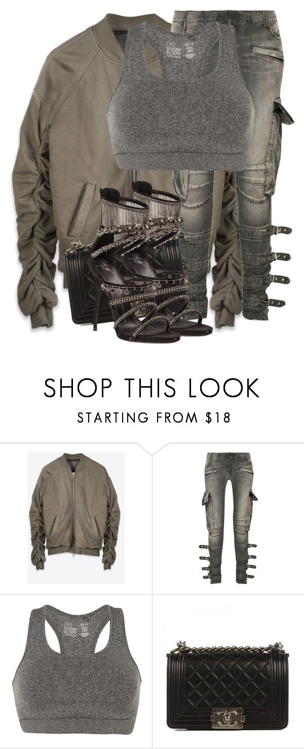"""Untitled #3412"" by xirix ❤ liked on Polyvore featuring Balmain, even&odd, Chanel and Giuseppe Zanotti"
