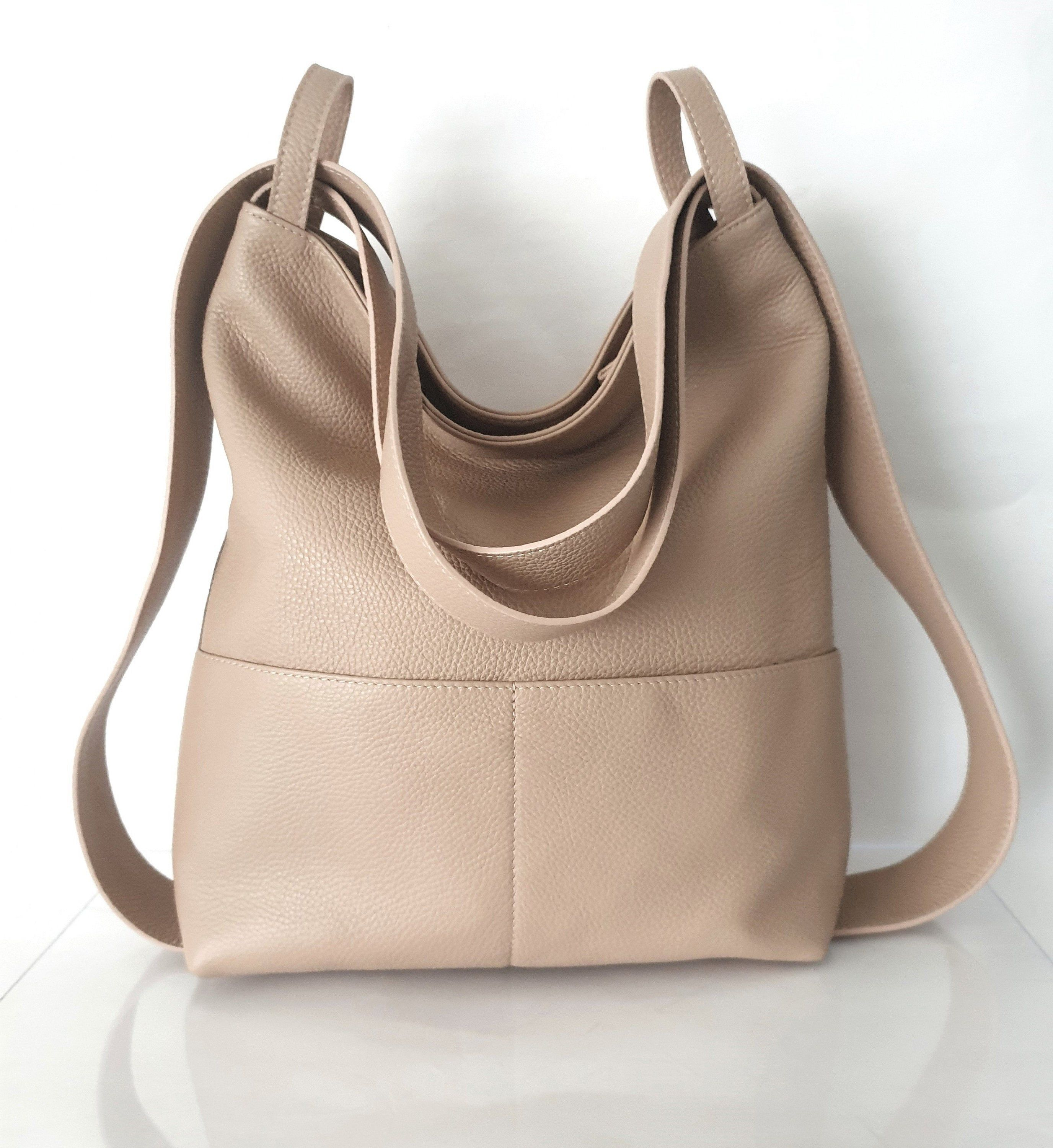 Borse I Bag.Powder Leather Hobo Handbags For Women Large Shoulder Bag Convertible Purse Backpack With Pockets Leather Fashion Anti Theft For Travel In 2020 Leather Hobo Handbags Handmade Bags Backpack Bags
