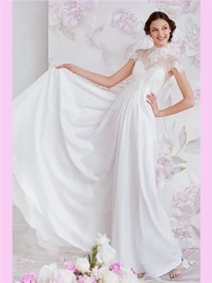 White A Line V-Neck Lace Chiffon Wedding Dress