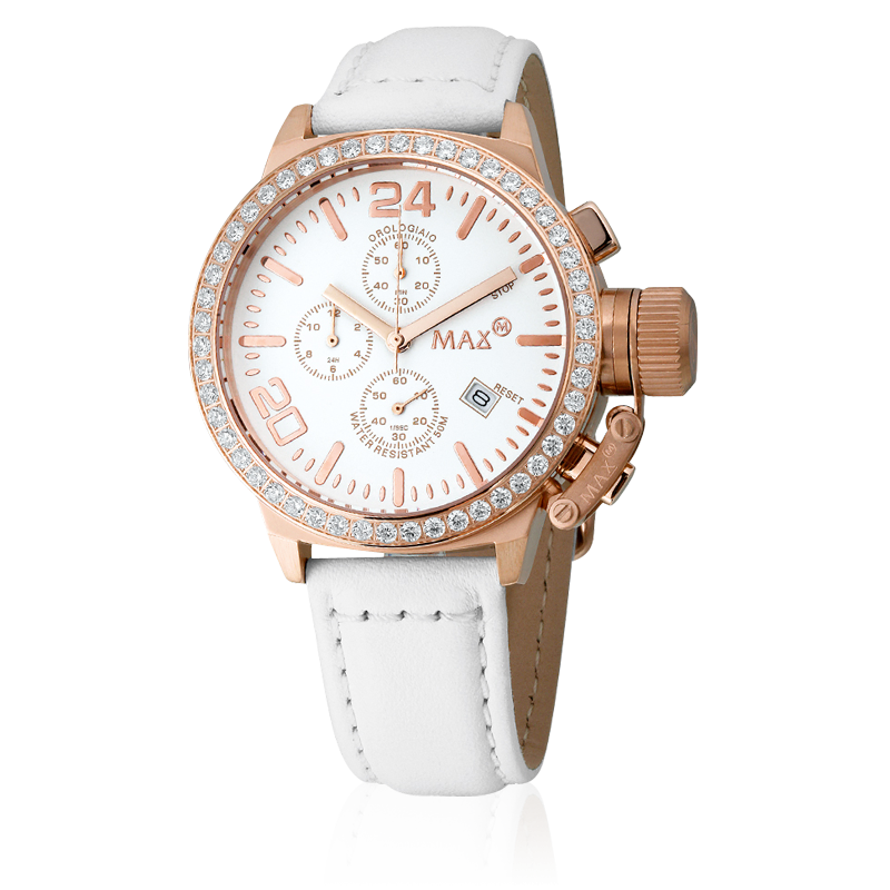 #MaxXL - Max classic chrono - Date function, Rose gold hands, Large crown protection lock, Pin buckle, Set with cubic Zirconia