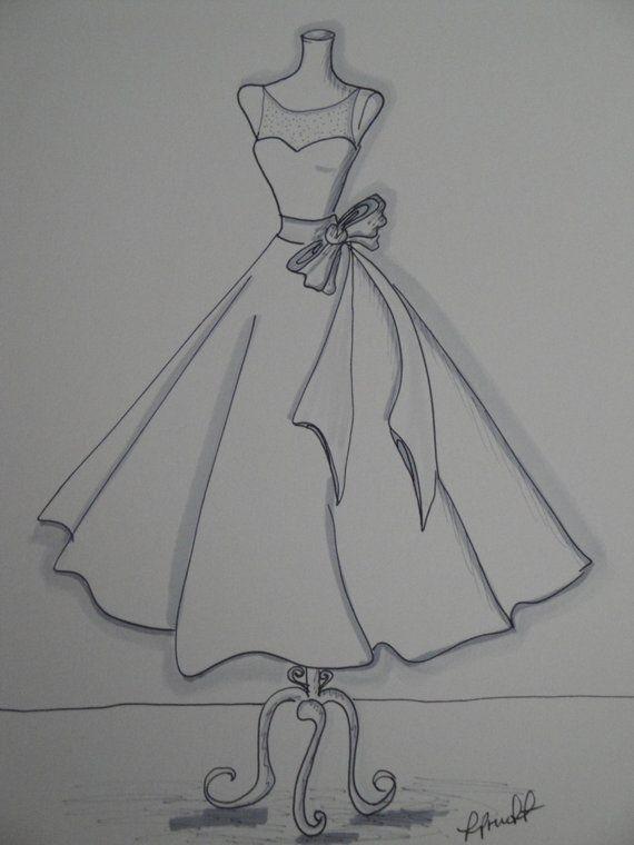 Photo of 11″x14″ Custom Wedding Dress Illustration Sketch – Wedding Dress