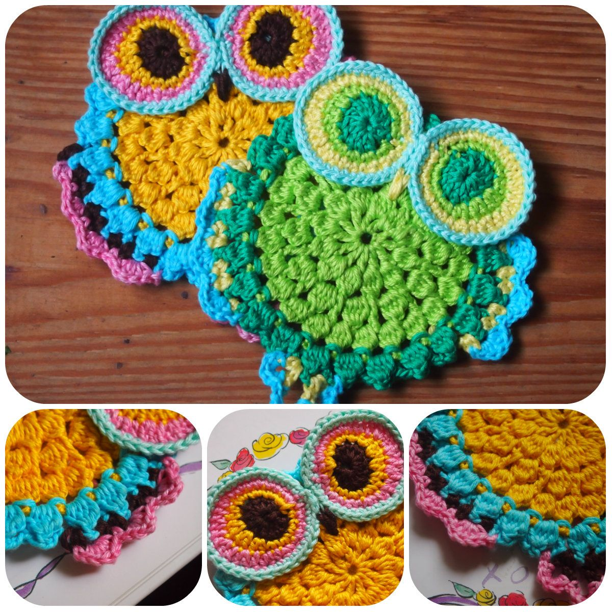 95cabdfe8 Owl Coaster crochet pattern. free crochet owl coaster pattern. scroll down  page.
