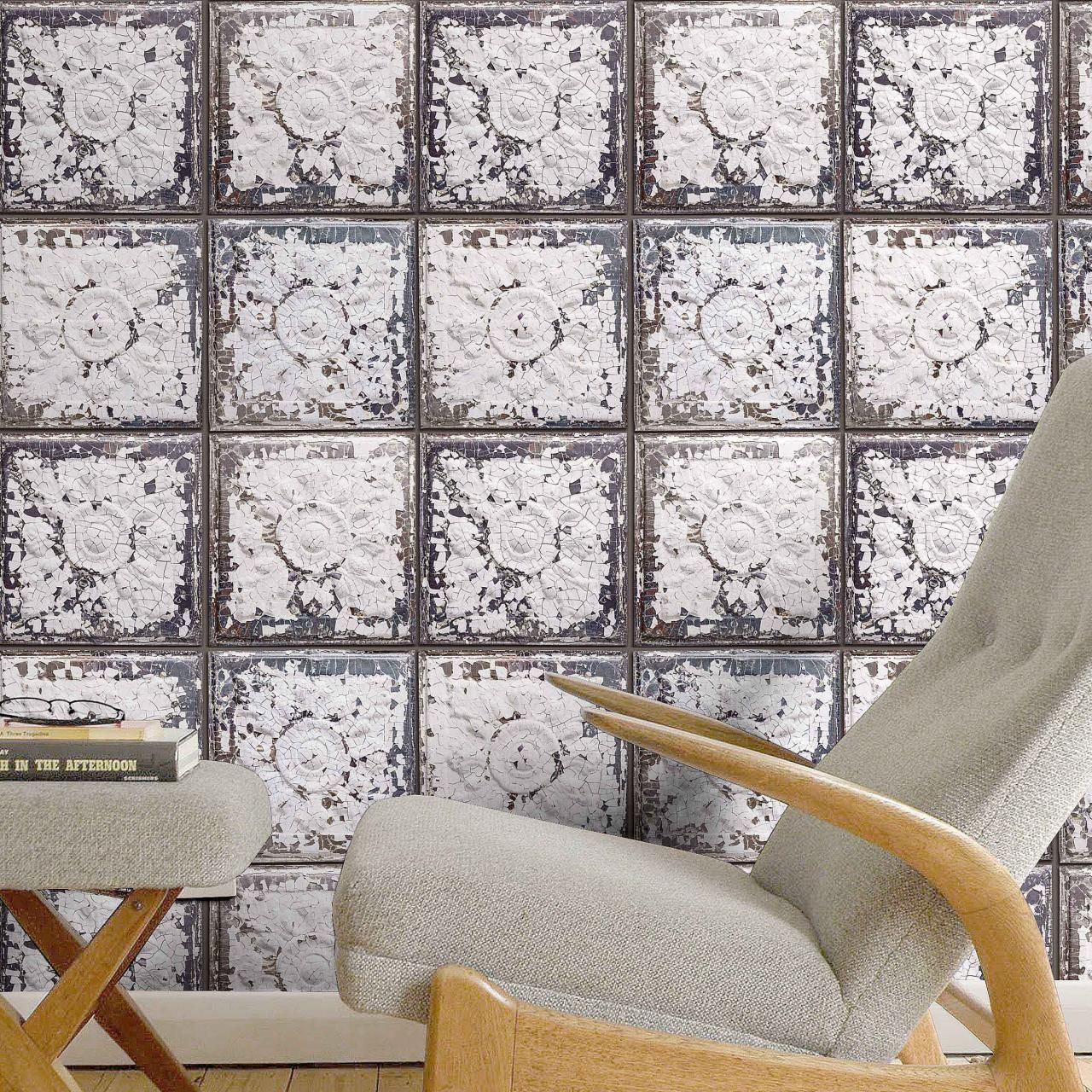 Exclusive 'Spring St' Brooklyn Tin Tile Effect Wallpaper | Off White & Grey