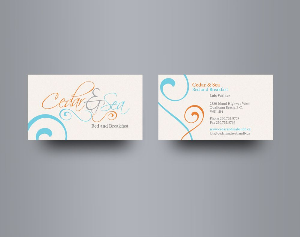 cedar sea business card design for a bed and breakfast on