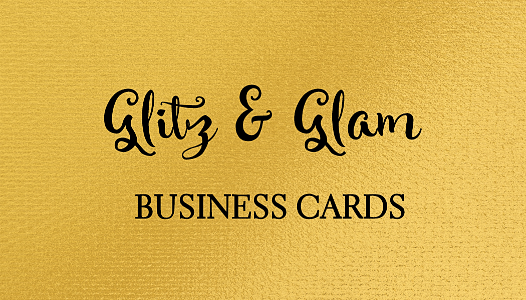 A collection of glamorous business cards full of glitter and glitz ...