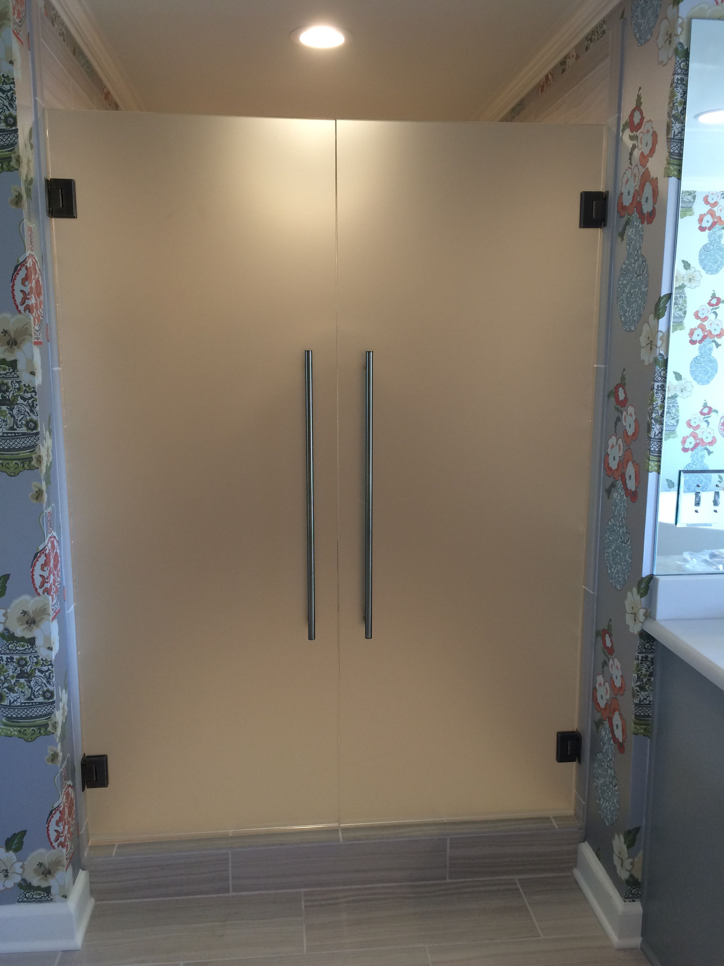 Satin Etched With Images Shower Doors Glass Shower Doors