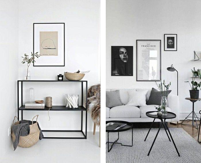 minimalistisch einrichten dezente wanddeko schwarze möbelstücke ...