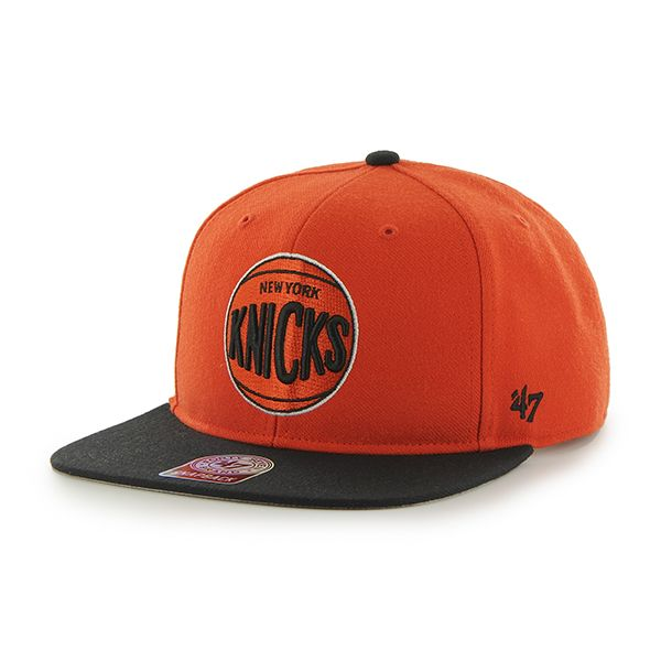 b5b0a7e138dfc7 New York Knicks Sure Shot Two Tone Captain Orange 47 Brand Adjustable Hat