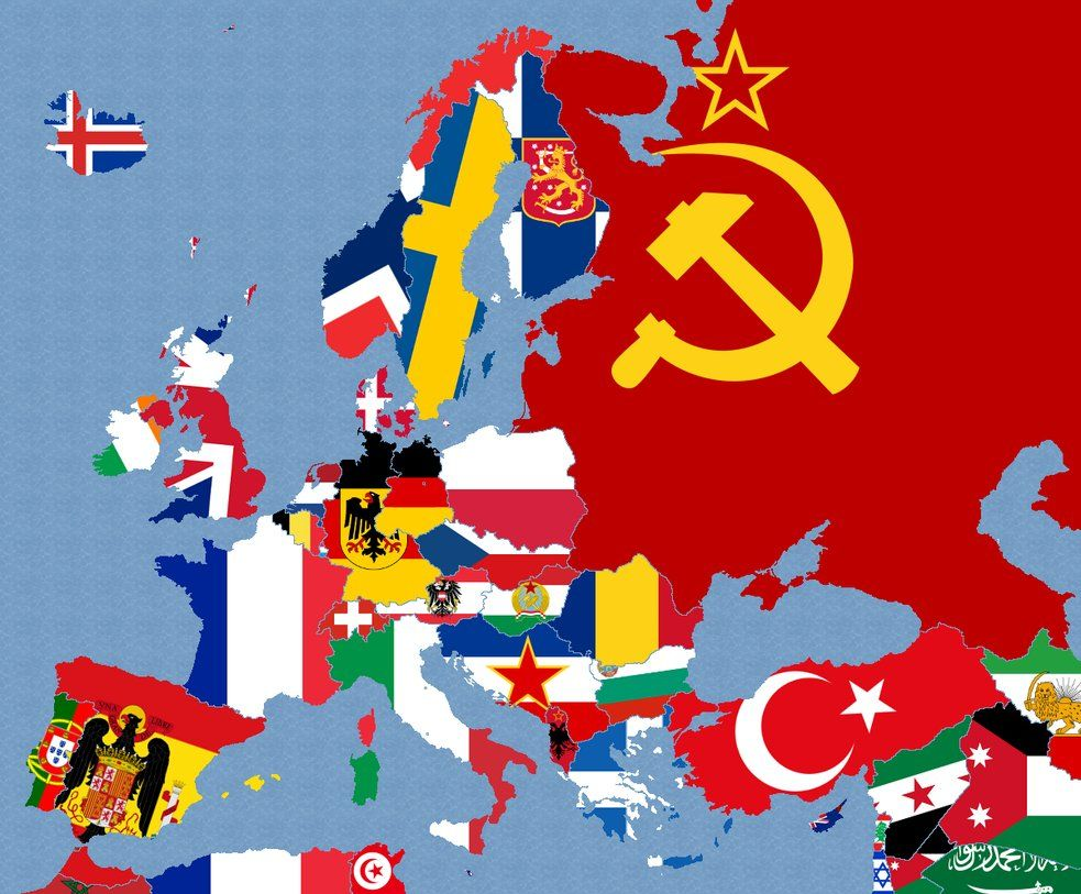 An interesting map depicting European flags around 1950 ...