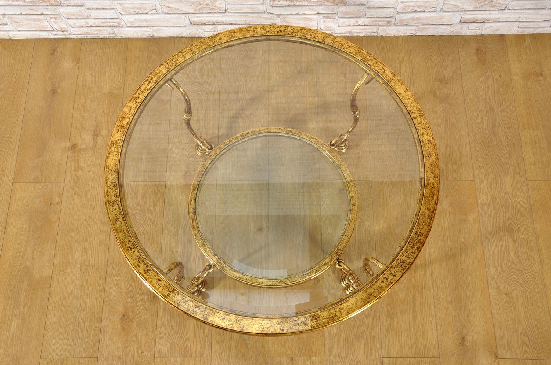 Tavolo Da Salotto Rotondo In Ferro Battuto Dorato In Foglia Oro Con 2 Piani In Cristallo Mobili Vangelista Tavoli Da Salotto Arredamento Di Lusso Mobili