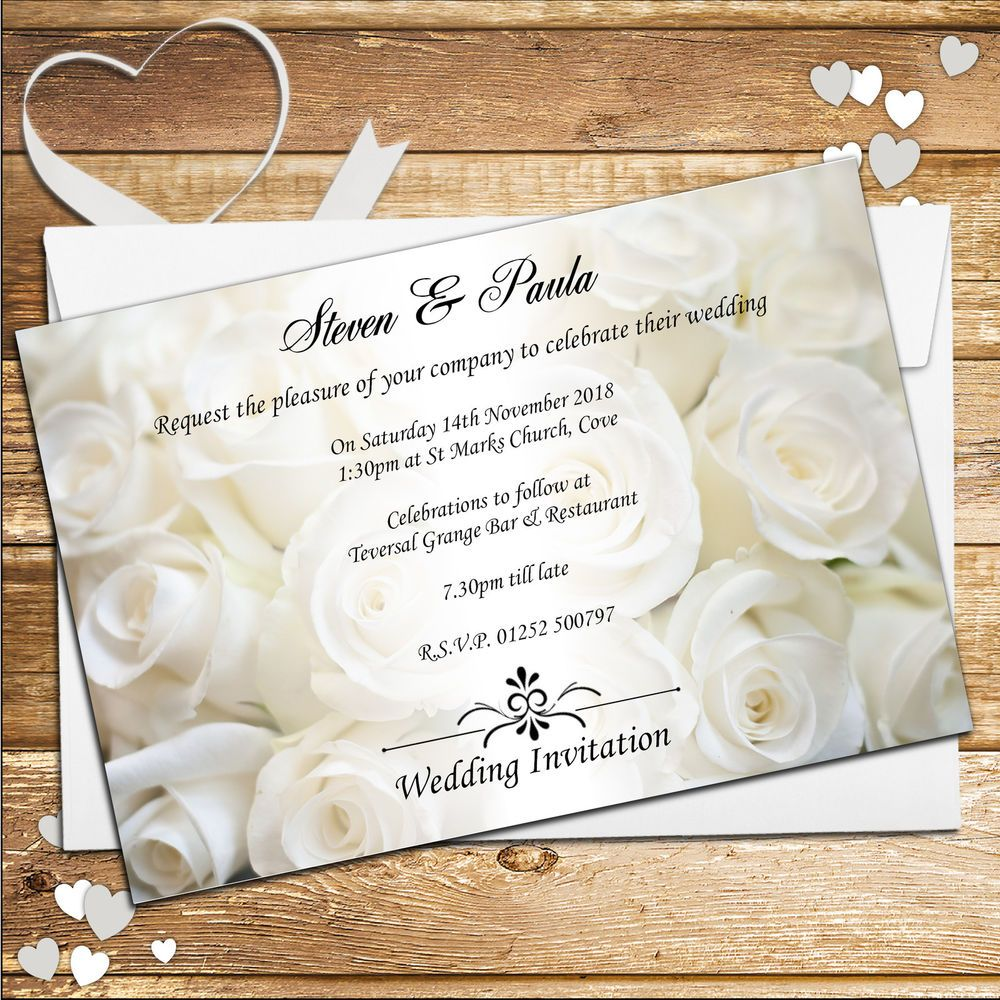 Personalised White Rose Wedding Day / Wedding Evening Invitations ...